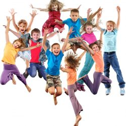 50350263 - large group of happy cheerful sportive children jumping, sporting and dancing. isolated over white background. childhood, freedom, happiness, active lifestyle concept.